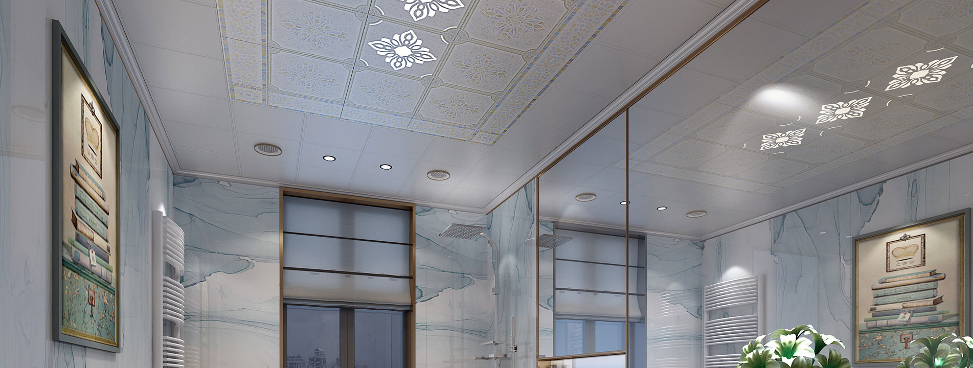 卫生间集成吊顶与集成墙面整装效果图