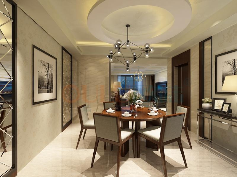 铝复合聚氨酯板餐厅效果图3-全屋整装案例赏析效果图