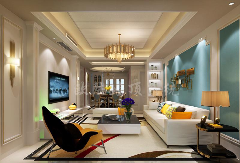 铝复合聚氨酯板客厅效果图1-全屋整装集成墙面效果图
