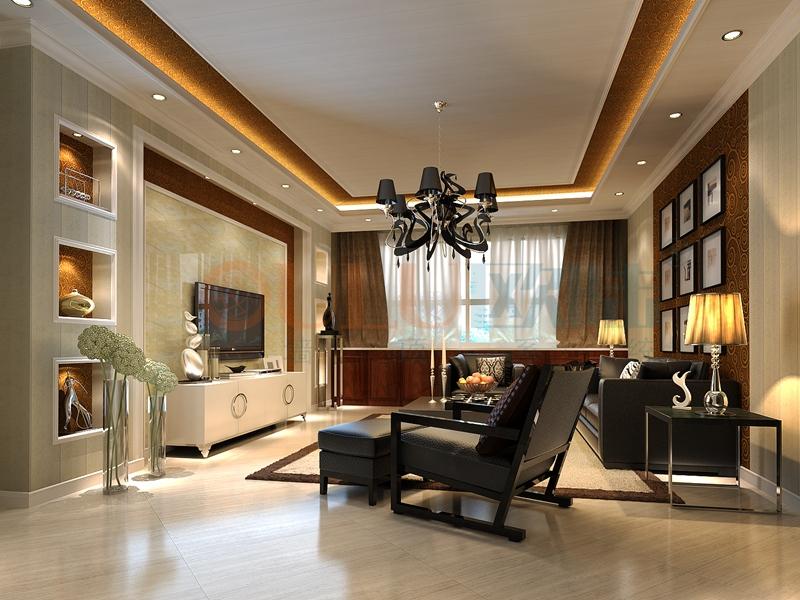 铝复合聚氨酯板客厅效果图4-全屋整装集成墙面效果图