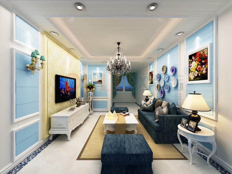 铝复合聚氨酯板客厅效果图5-全屋整装集成墙面效果图