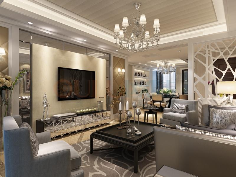 铝复合聚氨酯板客厅效果图7-全屋整装集成墙面效果图