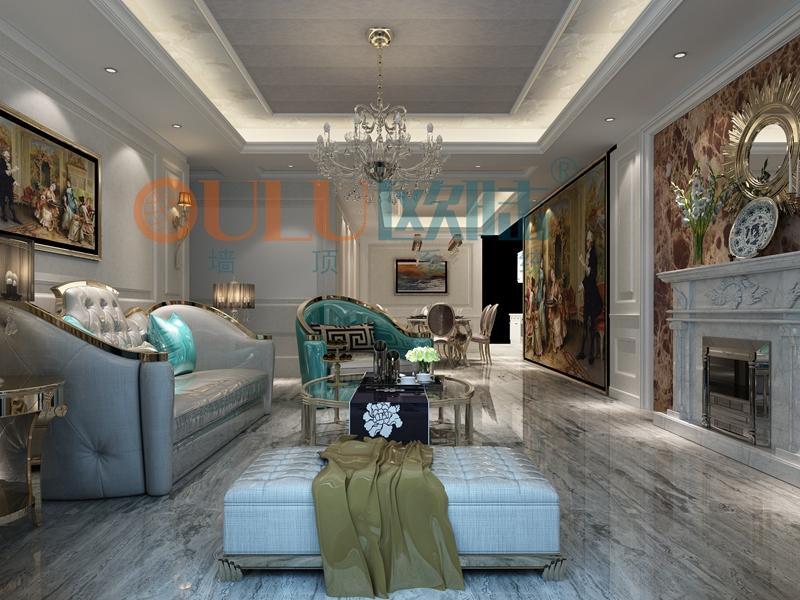 铝复合聚氨酯板客厅效果图10-全屋整装集成墙面效果图