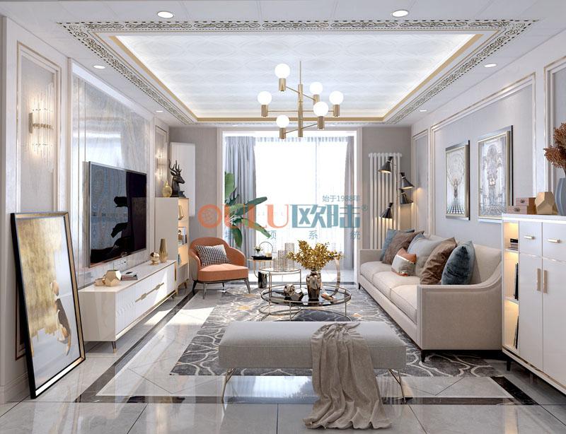 白叶罗兰 客厅吊顶-全屋整装客厅吊顶效果图