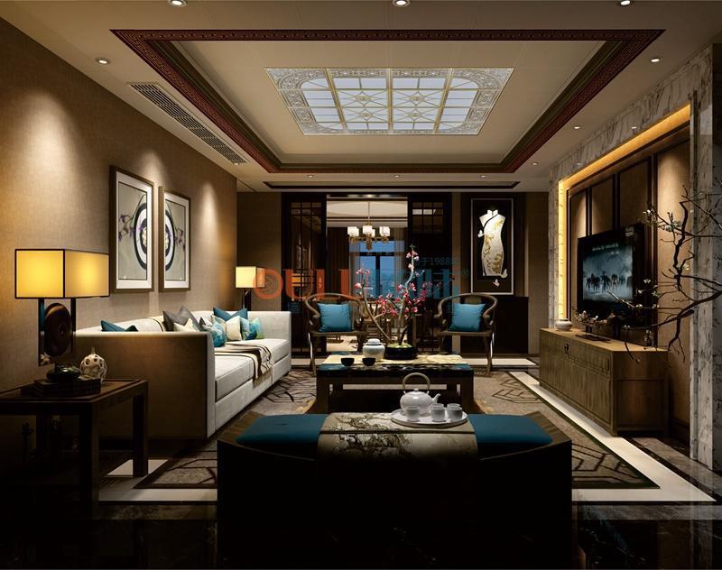 现代简约风格古典清幽系列 客厅吊顶-全屋整装客厅吊顶效果图