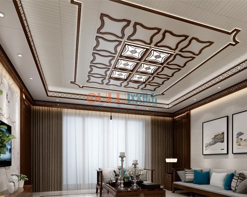 新中式木香系列 客厅吊顶吊顶天花与墙面效果图