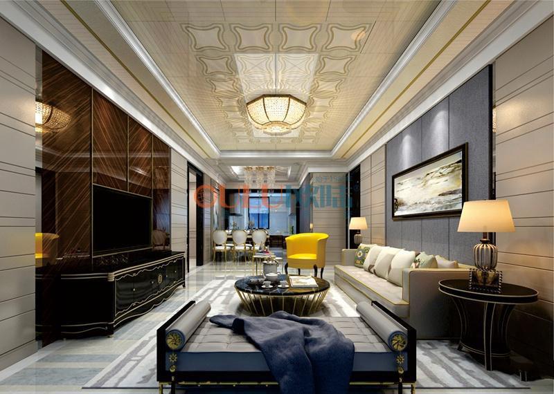 新欧式宫廷系列 客厅吊顶吊顶天花与墙面效果图